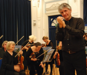 John Hancorn, conductor, and Alison Bury, leader, 31 May 2014 Lewes Town Hall